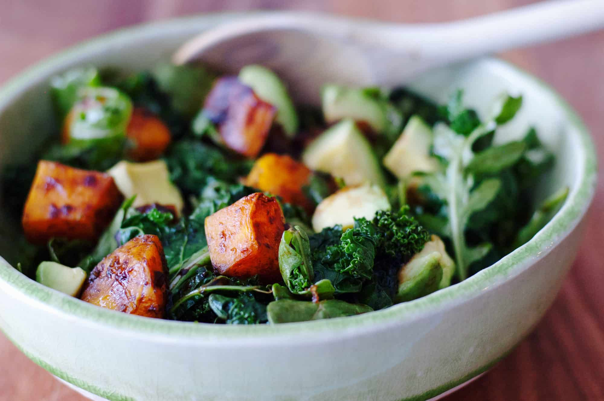 Simply Roasted Butternut Squash Warm Kale Salad